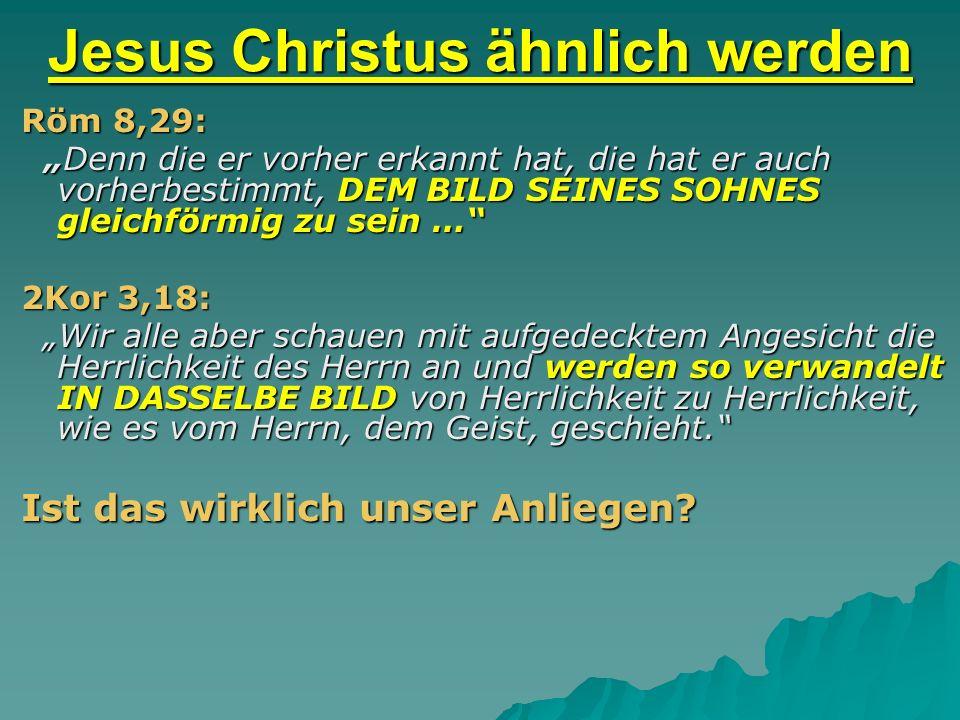 Jesus Christus ähnlich werden Röm 8,29: Denn die er vorher erkannt hat, die hat er auch vorherbestimmt, DEM BILD SEINES SOHNES gleichförmig zu sein …
