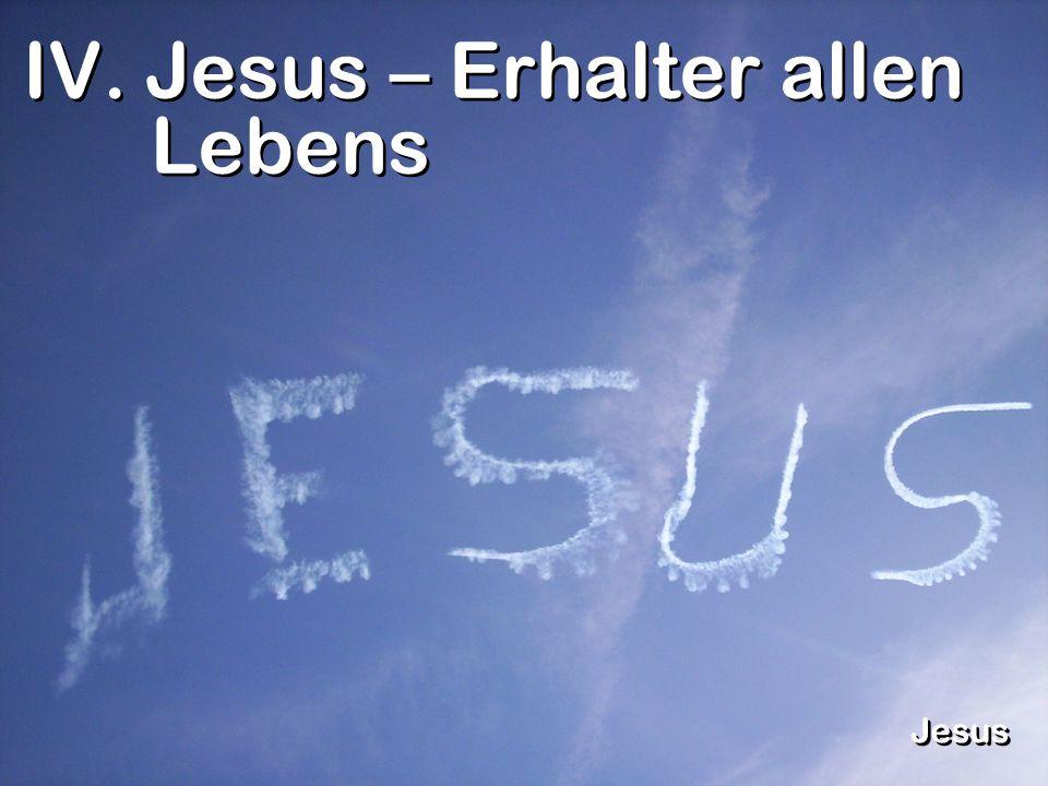 IV. Jesus – Erhalter allen Lebens Jesus