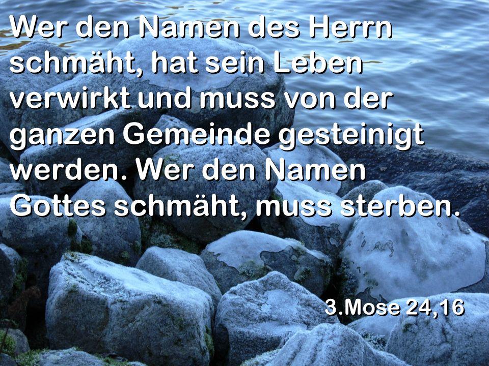 Wer den Namen des Herrn schmäht, hat sein Leben verwirkt und muss von der ganzen Gemeinde gesteinigt werden. Wer den Namen Gottes schmäht, muss sterbe