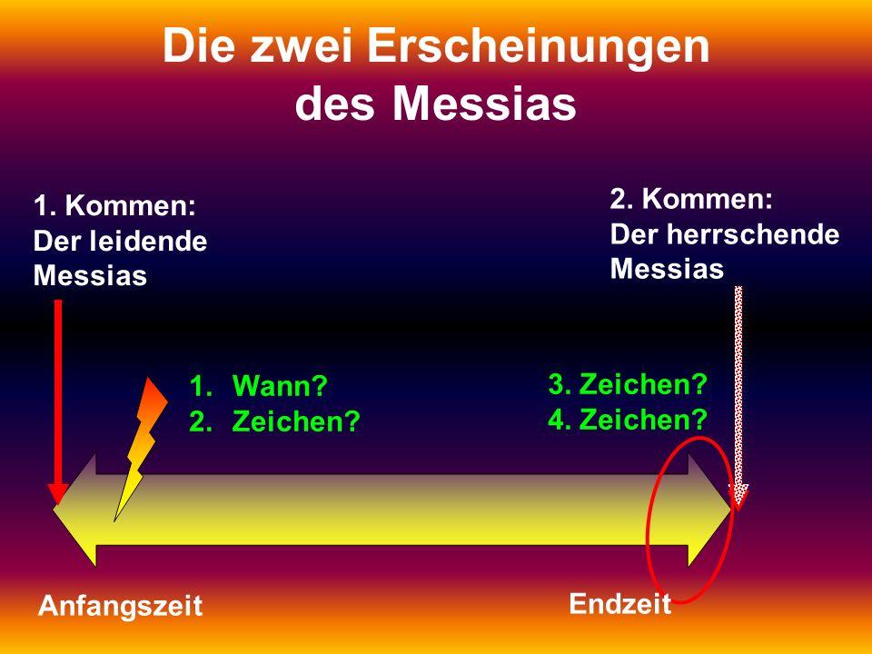 1. Kommen: Der leidende Messias 2. Kommen: Der herrschende Messias Die zwei Erscheinungen des Messias 1.Wann? 2.Zeichen? 3. Zeichen? 4. Zeichen? Anfan