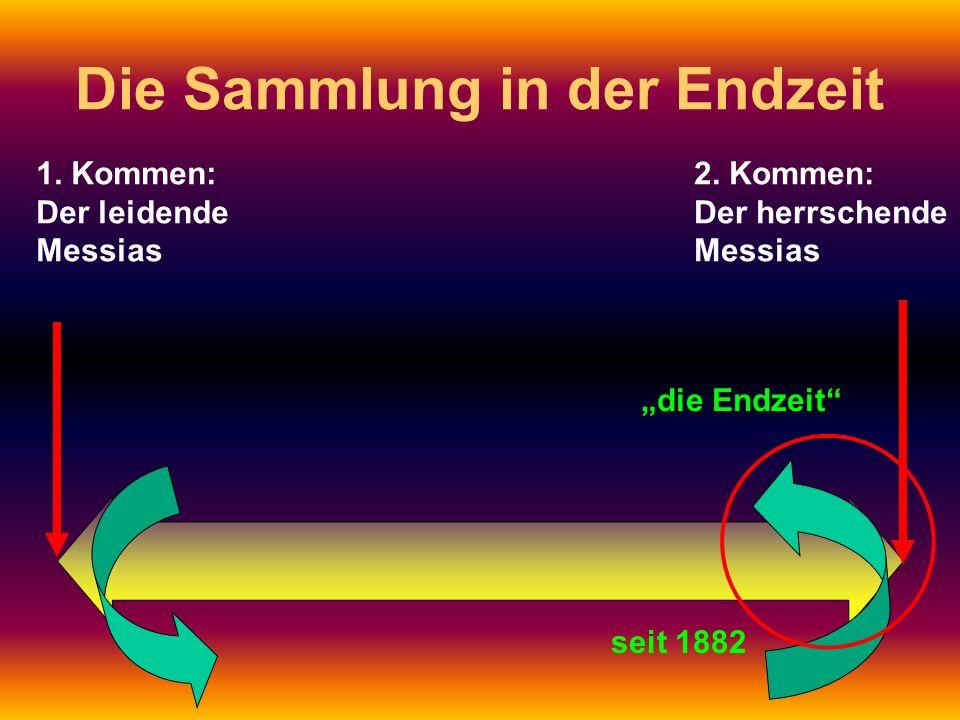 1. Kommen: Der leidende Messias 2. Kommen: Der herrschende Messias Die Sammlung in der Endzeit die Endzeit seit 1882