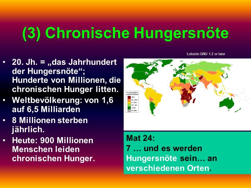 (3) Chronische Hungersnöte 20. Jh. = das Jahrhundert der Hungersnöte; Hunderte von Millionen, die chronischen Hunger litten. Weltbevölkerung: von 1,6
