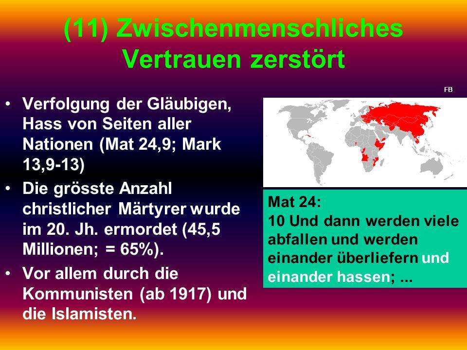 (11) Zwischenmenschliches Vertrauen zerstört Verfolgung der Gläubigen, Hass von Seiten aller Nationen (Mat 24,9; Mark 13,9-13) Die grösste Anzahl chri