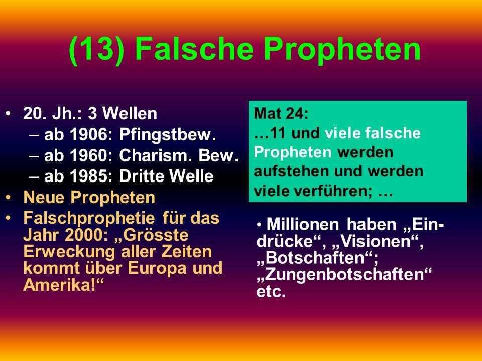 (13) Falsche Propheten 20. Jh.: 3 Wellen –ab 1906: Pfingstbew. –ab 1960: Charism. Bew. –ab 1985: Dritte Welle Neue Propheten Falschprophetie für das J