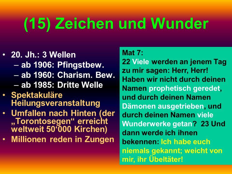 (15) Zeichen und Wunder 20. Jh.: 3 Wellen –ab 1906: Pfingstbew. –ab 1960: Charism. Bew. –ab 1985: Dritte Welle Spektakuläre Heilungsveranstaltung Umfa