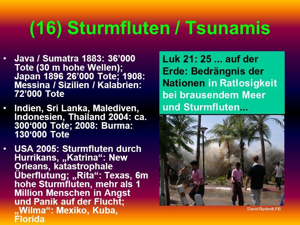 (16) Sturmfluten / Tsunamis Java / Sumatra 1883: 36000 Tote (30 m hohe Wellen); Japan 1896 26000 Tote; 1908: Messina / Sizilien / Kalabrien: 72000 Tot