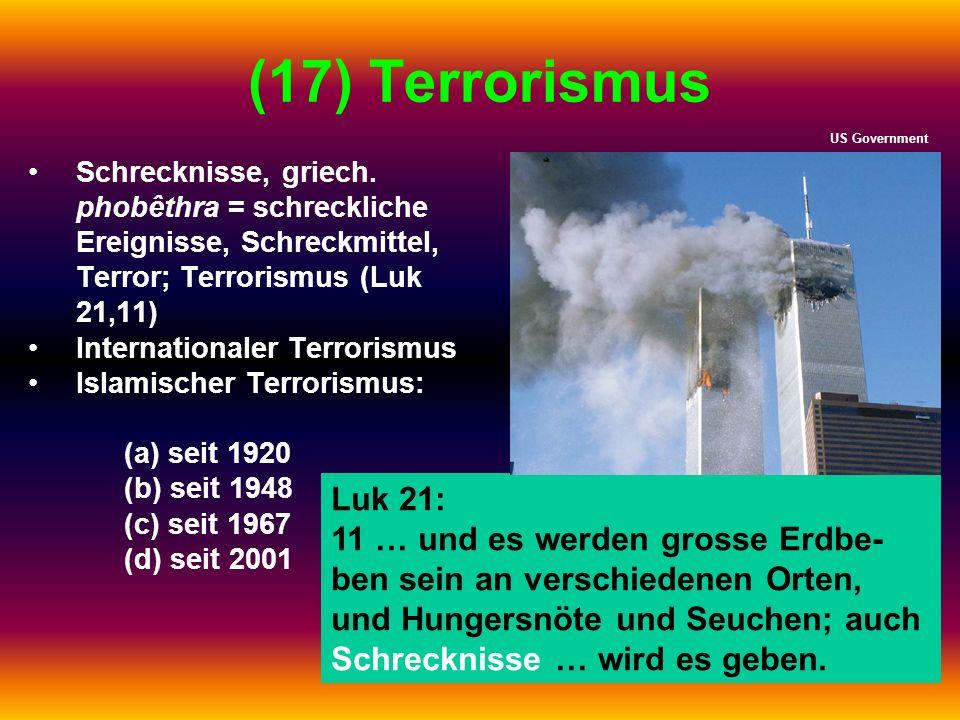 (17) Terrorismus Schrecknisse, griech. phobêthra = schreckliche Ereignisse, Schreckmittel, Terror; Terrorismus (Luk 21,11) Internationaler Terrorismus