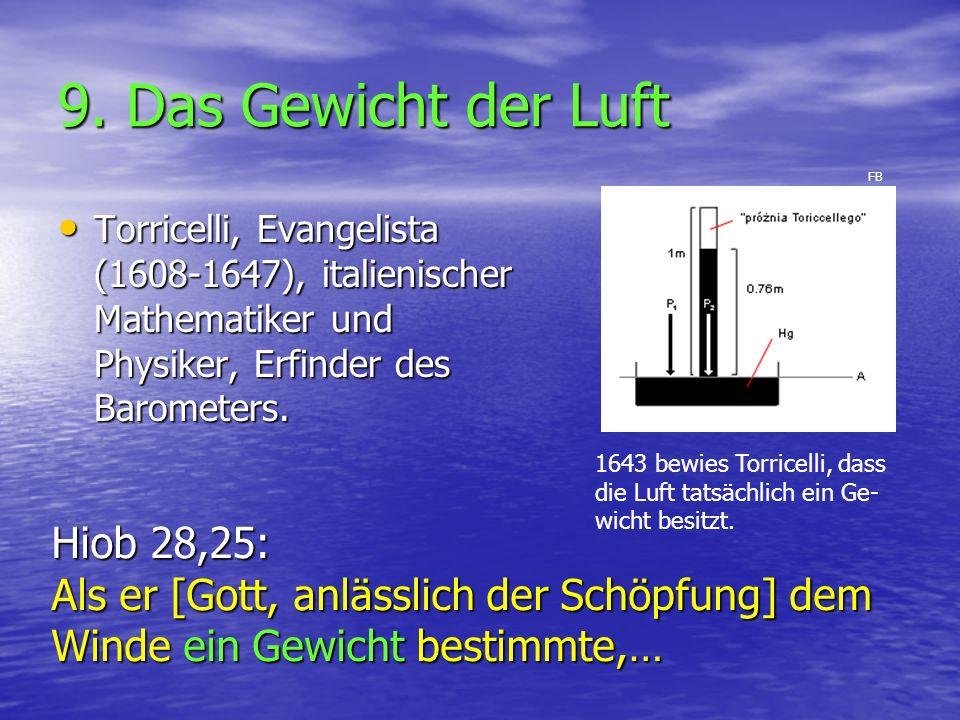 9. Das Gewicht der Luft Torricelli, Evangelista (1608-1647), italienischer Mathematiker und Physiker, Erfinder des Barometers. Torricelli, Evangelista