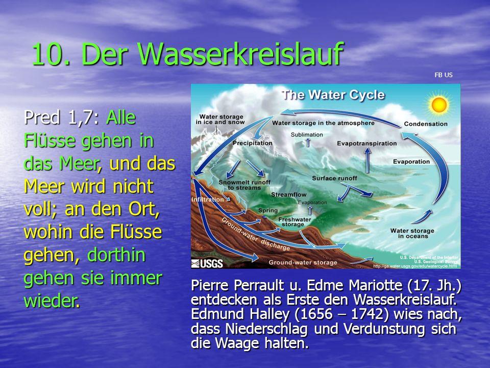 10. Der Wasserkreislauf Pred 1,7: Alle Flüsse gehen in das Meer, und das Meer wird nicht voll; an den Ort, wohin die Flüsse gehen, dorthin gehen sie i