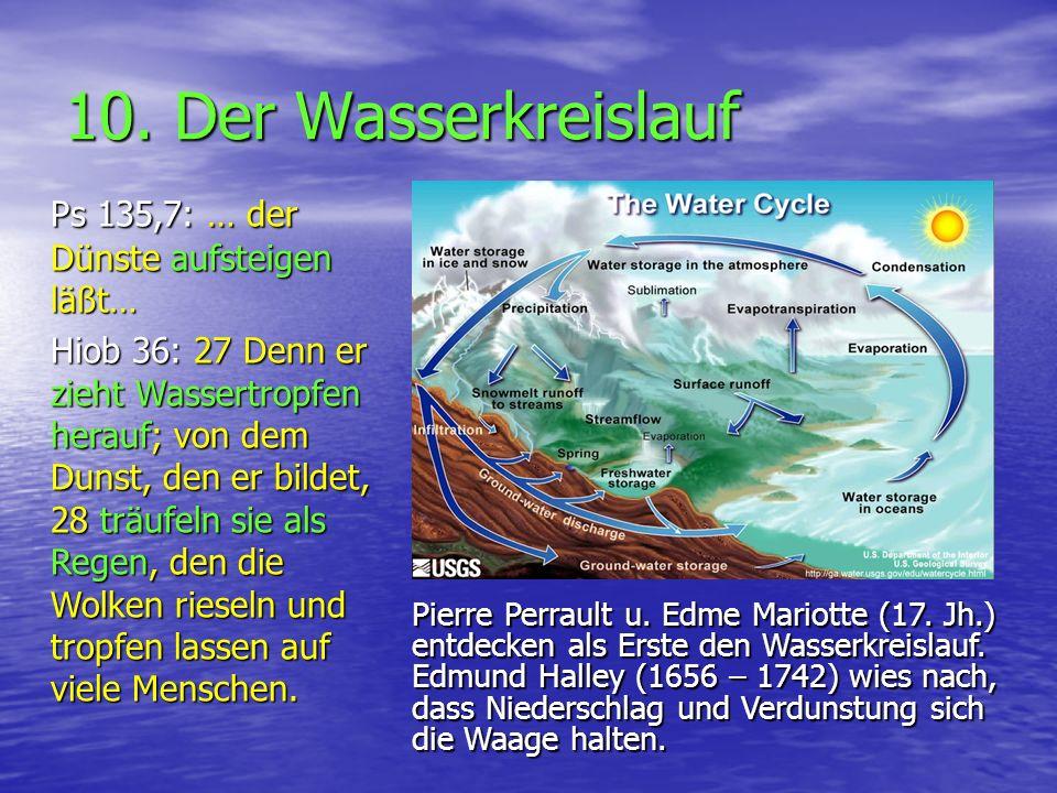 10. Der Wasserkreislauf Ps 135,7: … der Dünste aufsteigen läßt… Hiob 36: 27 Denn er zieht Wassertropfen herauf; von dem Dunst, den er bildet, 28 träuf