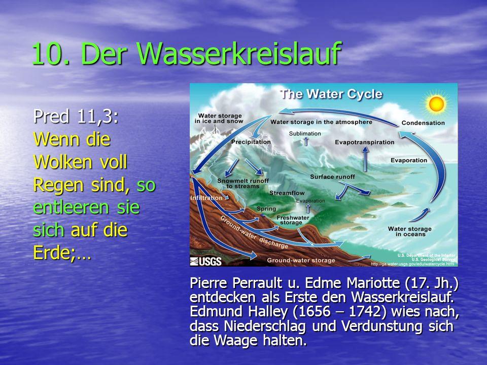 10. Der Wasserkreislauf Pred 11,3: Wenn die Wolken voll Regen sind, so entleeren sie sich auf die Erde;… Pierre Perrault u. Edme Mariotte (17. Jh.) en