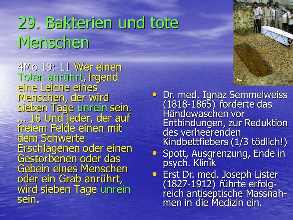 29. Bakterien und tote Menschen 4Mo 19: 11 Wer einen Toten anrührt, irgend eine Leiche eines Menschen, der wird sieben Tage unrein sein. … 16 Und jede