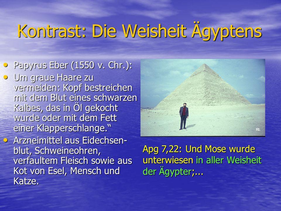 Kontrast: Die Weisheit Ägyptens Papyrus Eber (1550 v. Chr.): Papyrus Eber (1550 v. Chr.): Um graue Haare zu vermeiden: Kopf bestreichen mit dem Blut e