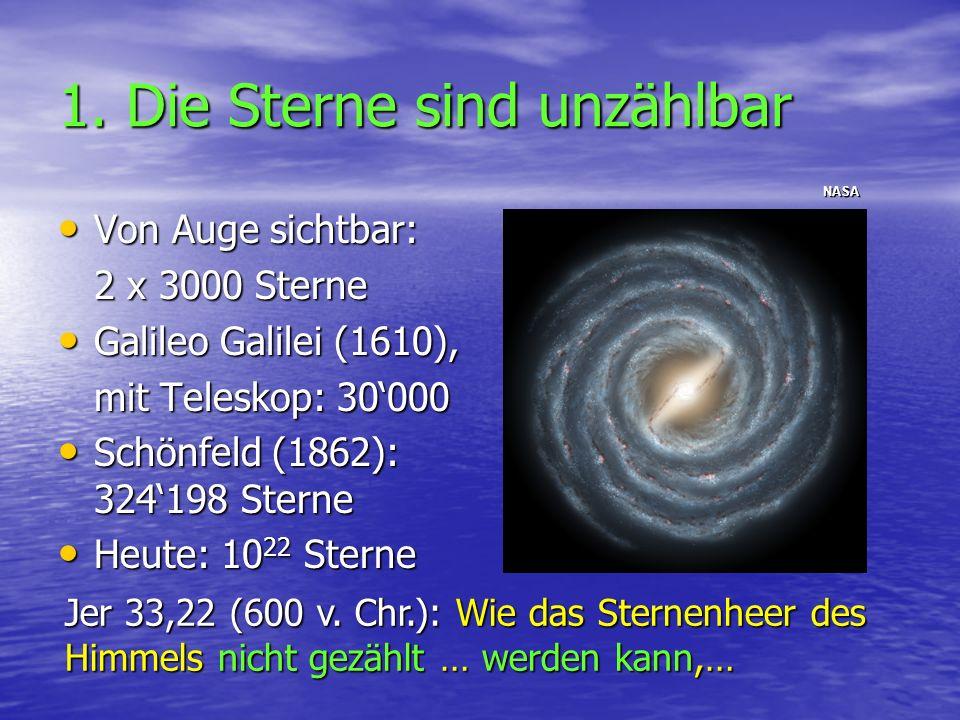 1. Die Sterne sind unzählbar Von Auge sichtbar: Von Auge sichtbar: 2 x 3000 Sterne Galileo Galilei (1610), Galileo Galilei (1610), mit Teleskop: 30000