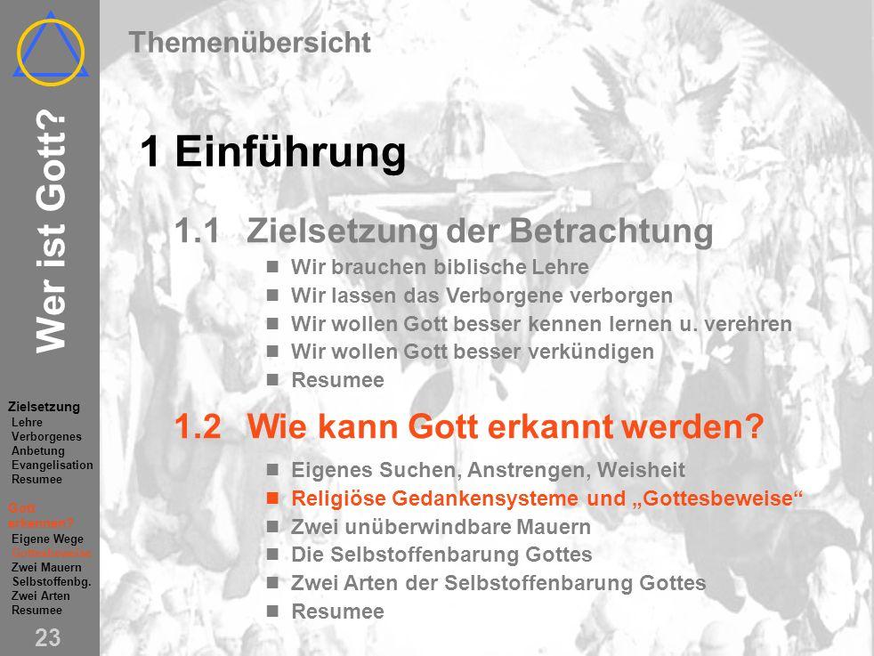 Wer ist Gott.22 1.2Wie kann Gott erkannt werden. Eigenes Suchen, Anstrengen...