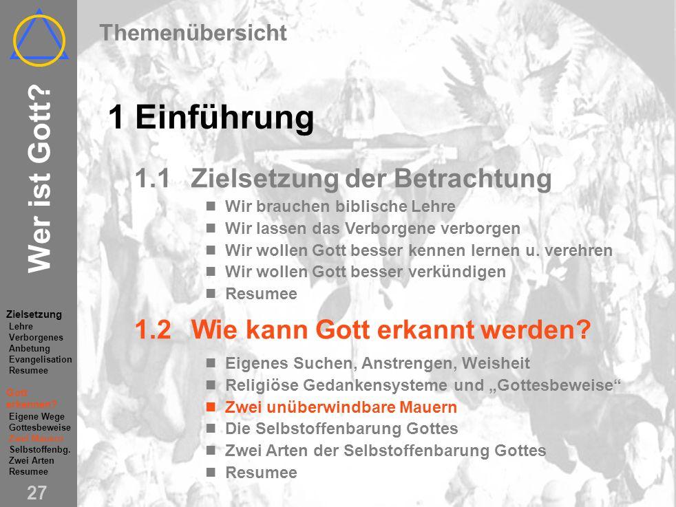 Wer ist Gott.26 1.2Wie kann Gott erkannt werden.