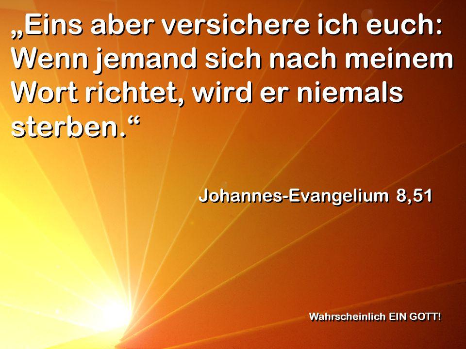 Eins aber versichere ich euch: Wenn jemand sich nach meinem Wort richtet, wird er niemals sterben. Johannes-Evangelium 8,51 Wahrscheinlich EIN GOTT!