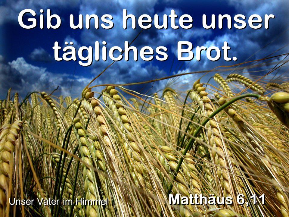 Gib uns heute unser tägliches Brot. Matthäus 6,11 Unser Vater im Himmel