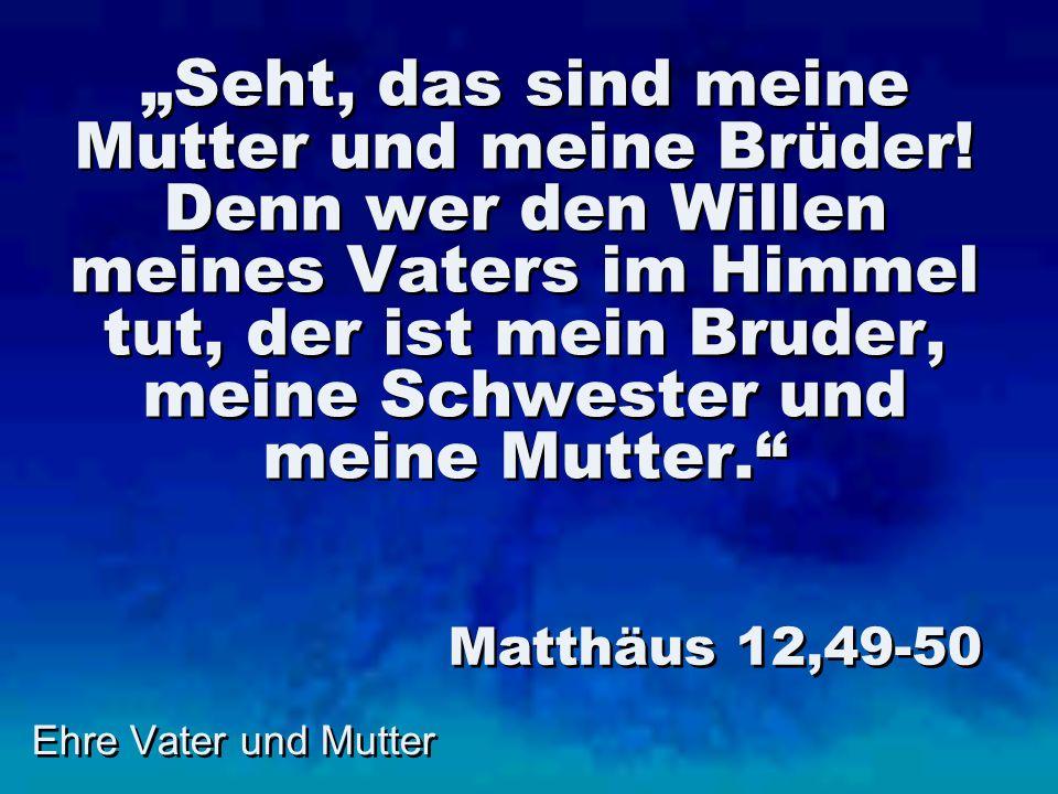 Ehre Vater und Mutter Seht, das sind meine Mutter und meine Brüder! Denn wer den Willen meines Vaters im Himmel tut, der ist mein Bruder, meine Schwes