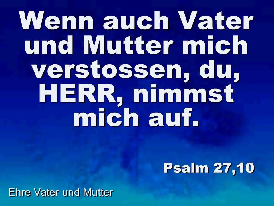 Wenn auch Vater und Mutter mich verstossen, du, HERR, nimmst mich auf. Psalm 27,10