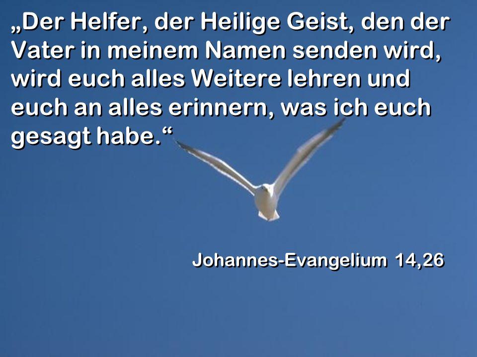 Der Helfer, der Heilige Geist, den der Vater in meinem Namen senden wird, wird euch alles Weitere lehren und euch an alles erinnern, was ich euch gesa