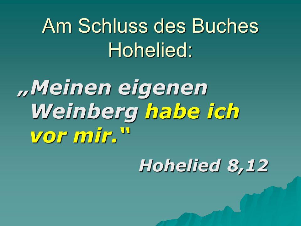 Am Schluss des Buches Hohelied: Meinen eigenen Weinberg habe ich vor mir. Hohelied 8,12