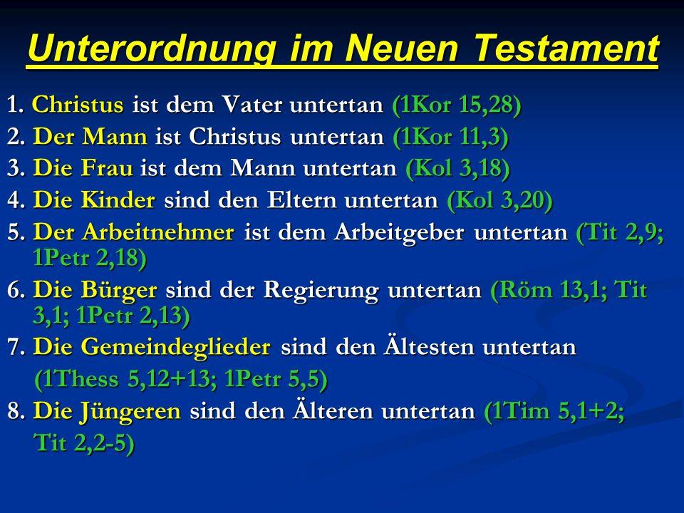 Unterordnung im Neuen Testament 1.Christus ist dem Vater untertan (1Kor 15,28) 2.