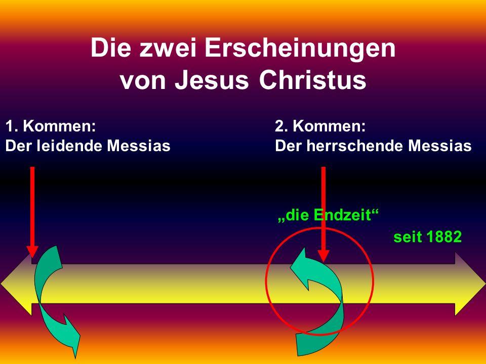 1. Kommen: Der leidende Messias 2. Kommen: Der herrschende Messias Die zwei Erscheinungen von Jesus Christus die Endzeit seit 1882