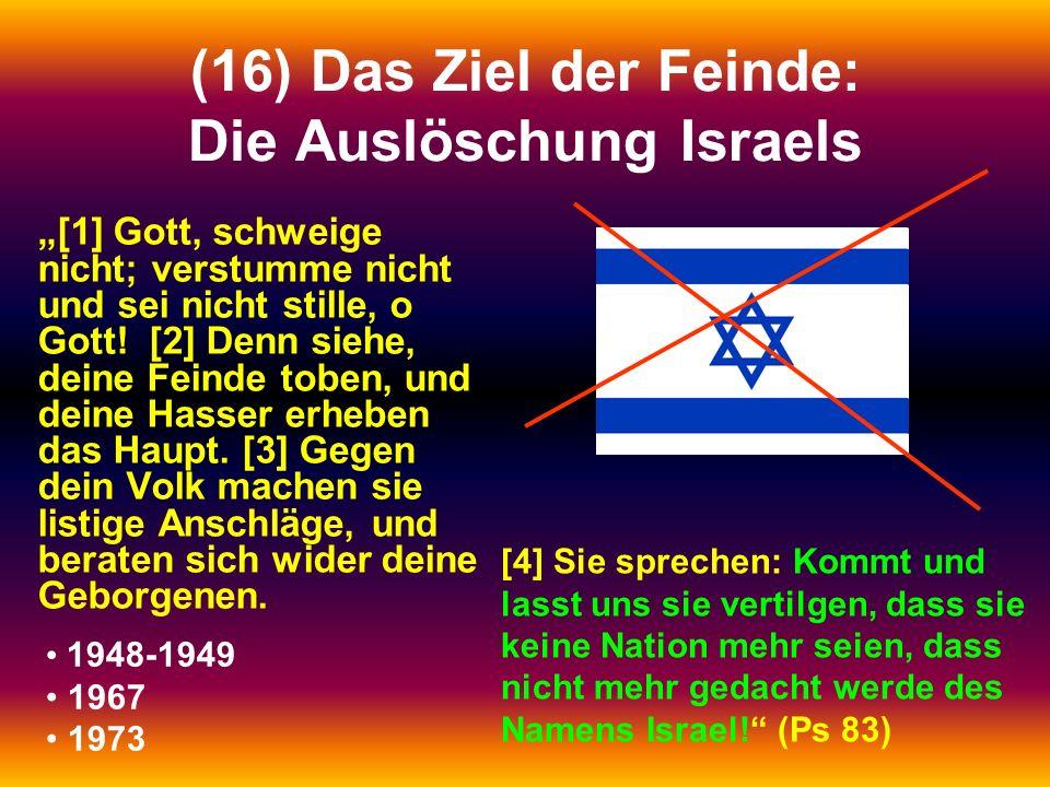 (16) Das Ziel der Feinde: Die Auslöschung Israels [1] Gott, schweige nicht; verstumme nicht und sei nicht stille, o Gott! [2] Denn siehe, deine Feinde
