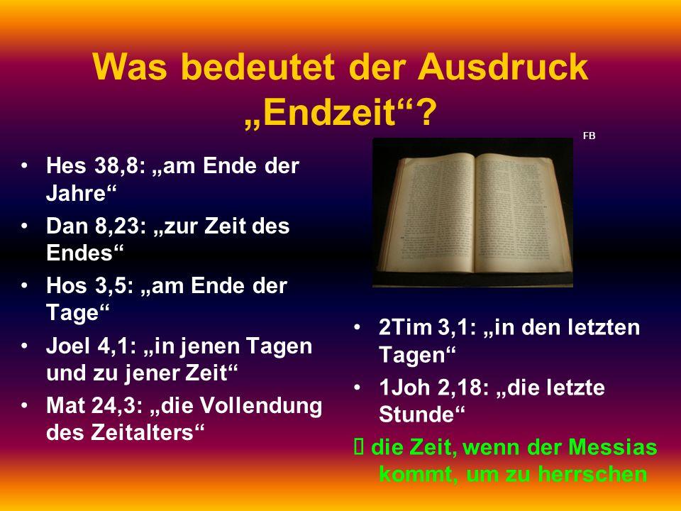 Was bedeutet der Ausdruck Endzeit? 2Tim 3,1: in den letzten Tagen 1Joh 2,18: die letzte Stunde die Zeit, wenn der Messias kommt, um zu herrschen Hes 3