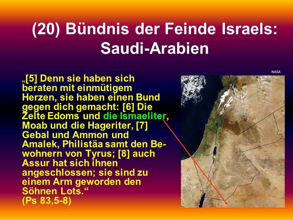 (20) Bündnis der Feinde Israels: Saudi-Arabien [5] Denn sie haben sich beraten mit einmütigem Herzen, sie haben einen Bund gegen dich gemacht: [6] Die