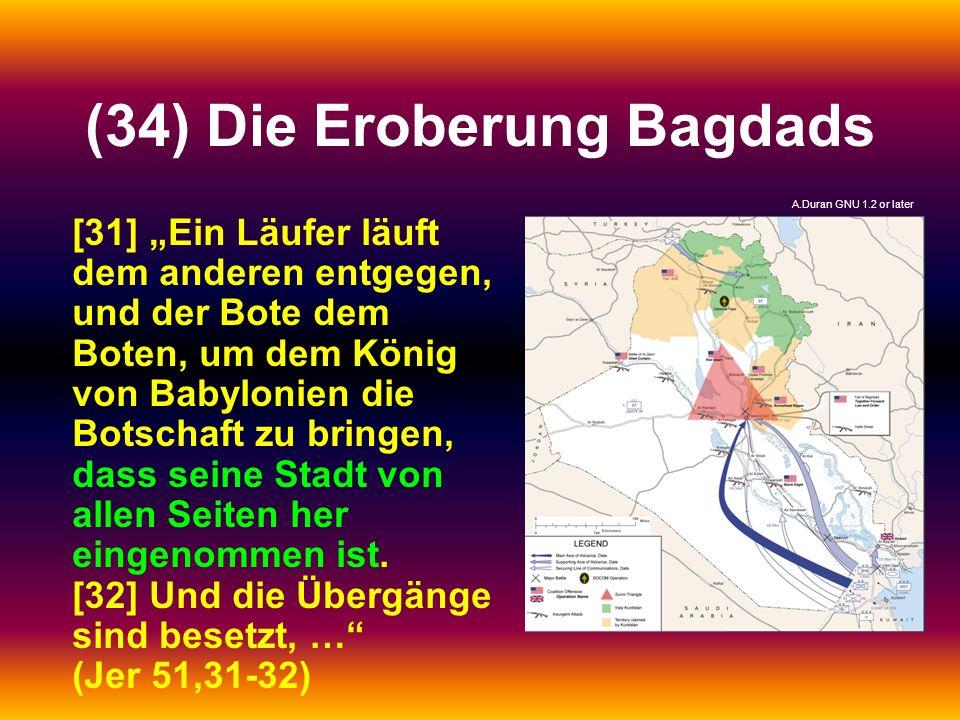 (34) Die Eroberung Bagdads [31] Ein Läufer läuft dem anderen entgegen, und der Bote dem Boten, um dem König von Babylonien die Botschaft zu bringen, d