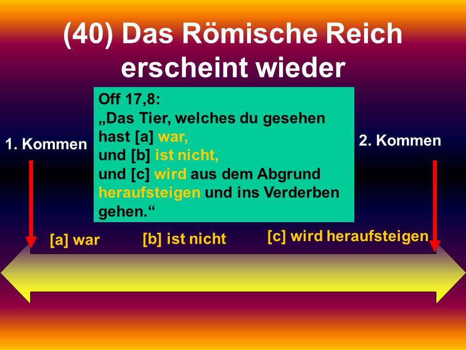 1. Kommen 2. Kommen (40) Das Römische Reich erscheint wieder Off 17,8: Das Tier, welches du gesehen hast [a] war, und [b] ist nicht, und [c] wird aus