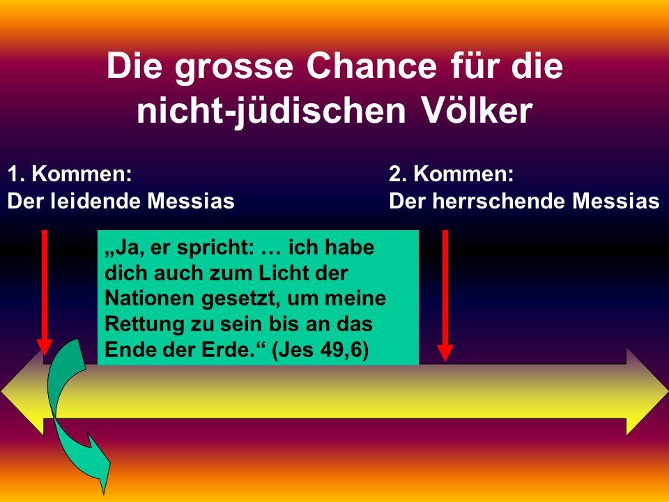 Was soll die lange Zwischenzeit? 1. Kommen: Der leidende Messias 2. Kommen: Der herrschende Messias Die grosse Chance für die nicht-jüdischen Völker J