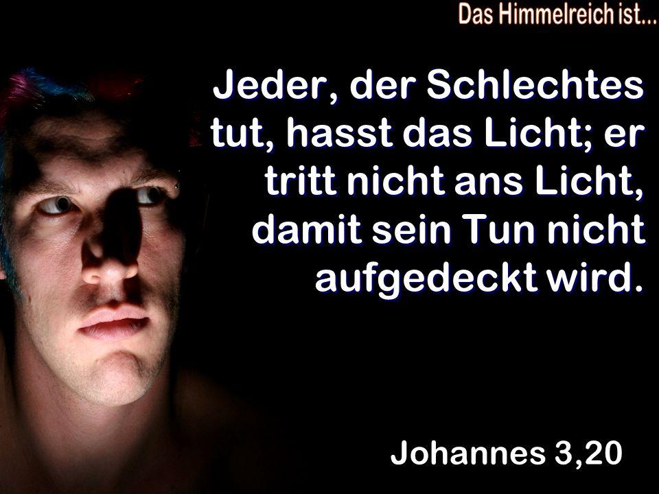 Jeder, der Schlechtes tut, hasst das Licht; er tritt nicht ans Licht, damit sein Tun nicht aufgedeckt wird. Johannes 3,20