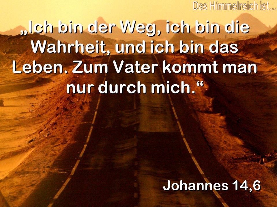 Ich bin der Weg, ich bin die Wahrheit, und ich bin das Leben. Zum Vater kommt man nur durch mich. Johannes 14,6