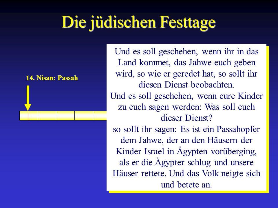 14. Nisan: Passah Die jüdischen Festtage Und es soll geschehen, wenn ihr in das Land kommet, das Jahwe euch geben wird, so wie er geredet hat, so soll