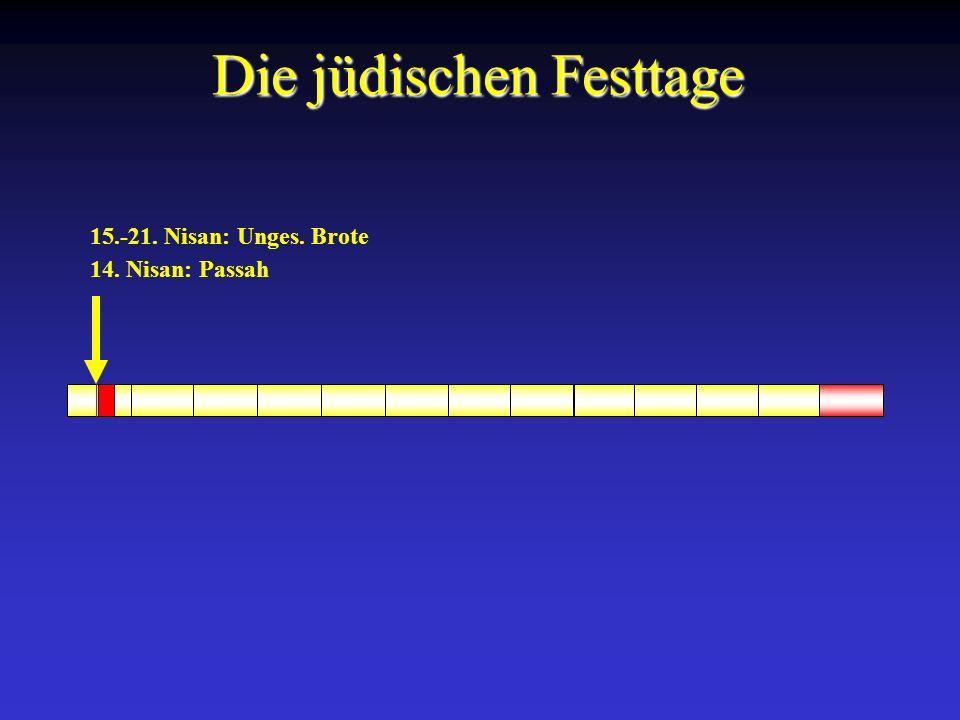 14. Nisan: Passah 15.-21. Nisan: Unges. Brote Die jüdischen Festtage