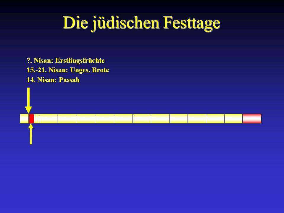 14. Nisan: Passah 15.-21. Nisan: Unges. Brote ?. Nisan: Erstlingsfrüchte Die jüdischen Festtage