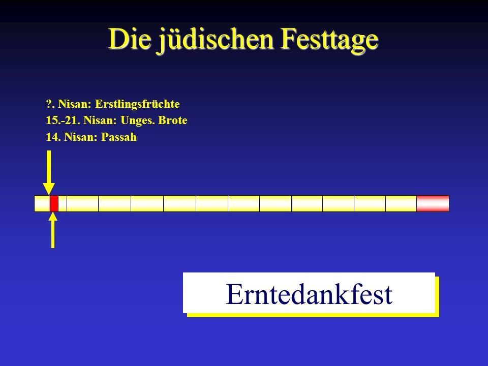 14. Nisan: Passah 15.-21. Nisan: Unges. Brote ?. Nisan: Erstlingsfrüchte Die jüdischen Festtage Erntedankfest
