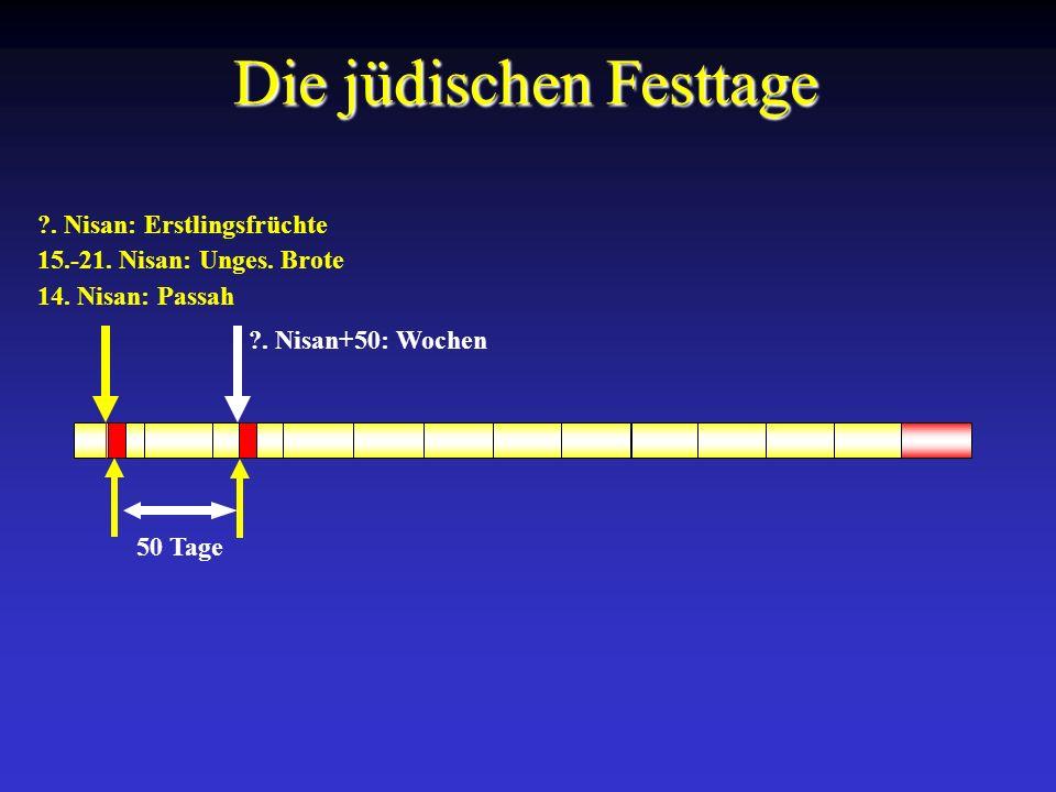 14. Nisan: Passah 15.-21. Nisan: Unges. Brote ?. Nisan: Erstlingsfrüchte Die jüdischen Festtage 50 Tage ?. Nisan+50: Wochen