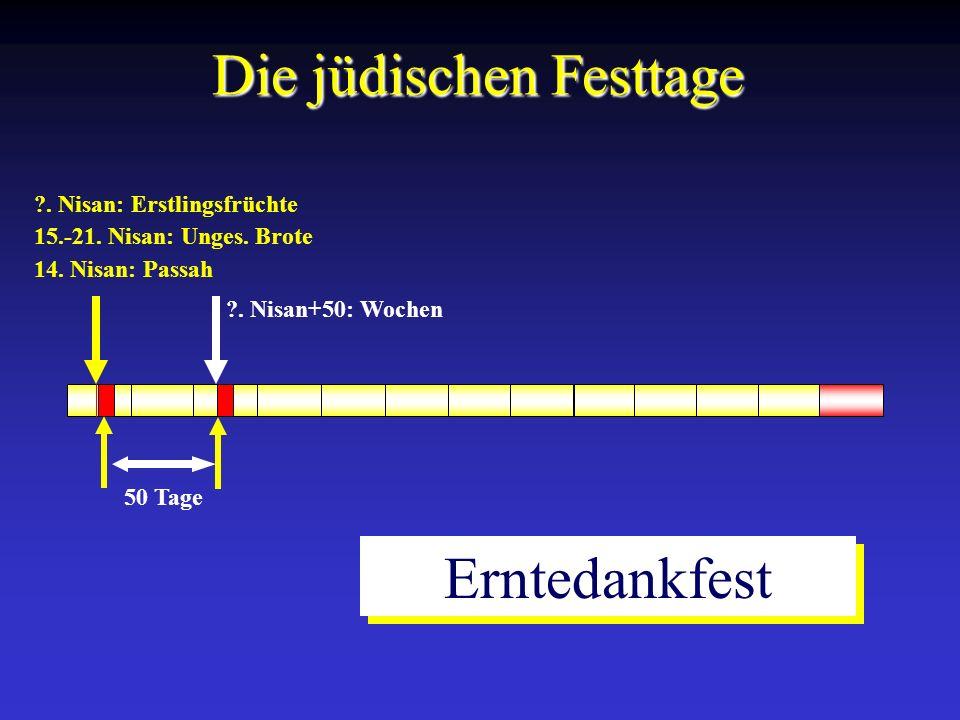 14. Nisan: Passah 15.-21. Nisan: Unges. Brote ?. Nisan: Erstlingsfrüchte Die jüdischen Festtage 50 Tage ?. Nisan+50: Wochen Erntedankfest