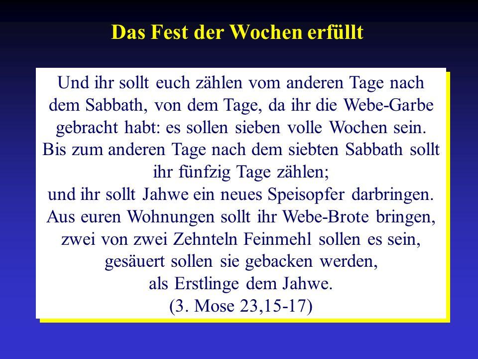 Das Fest der Wochen erfüllt Und ihr sollt euch zählen vom anderen Tage nach dem Sabbath, von dem Tage, da ihr die Webe-Garbe gebracht habt: es sollen