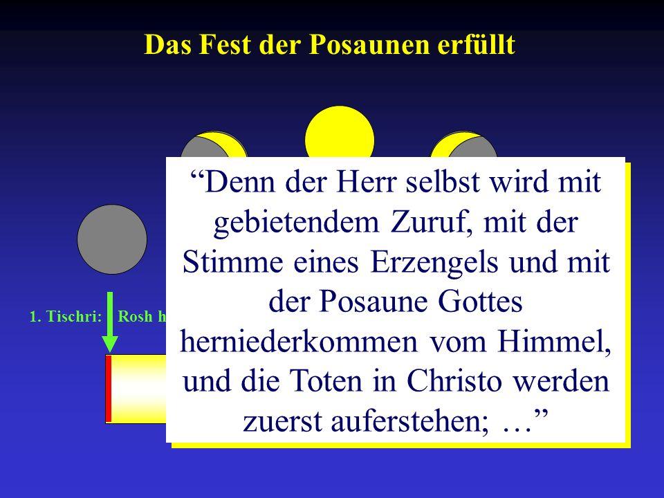 1. Tischri: Rosh ha-Schana 10. Tischri: Yom-Kippur 15.-21. Tischri: Sukkot Denn der Herr selbst wird mit gebietendem Zuruf, mit der Stimme eines Erzen