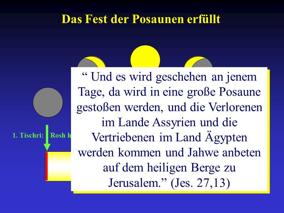 1. Tischri: Rosh ha-Schana 10. Tischri: Yom-Kippur 15.-21. Tischri: Sukkot Und es wird geschehen an jenem Tage, da wird in eine große Posaune gestoßen