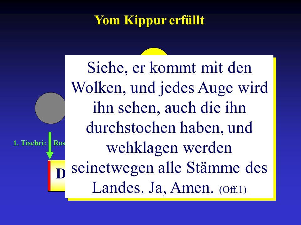 1. Tischri: Rosh ha-Schana 10. Tischri: Yom-Kippur 15.-21. Tischri: Sukkot Drangsalszeit Siehe, er kommt mit den Wolken, und jedes Auge wird ihn sehen