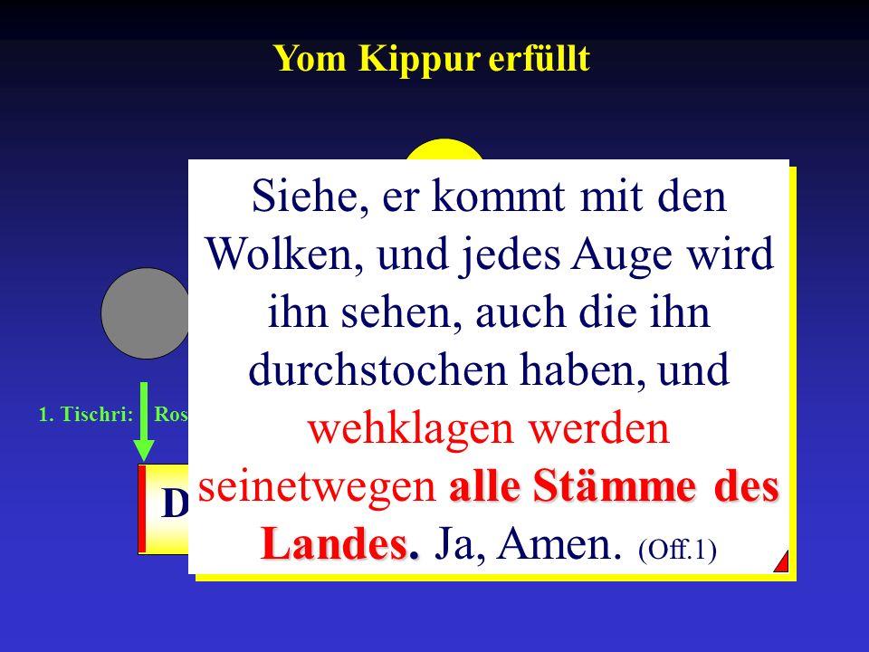 1. Tischri: Rosh ha-Schana 10. Tischri: Yom-Kippur 15.-21. Tischri: Sukkot Drangsalszeit alle Stämme des Landes. Siehe, er kommt mit den Wolken, und j