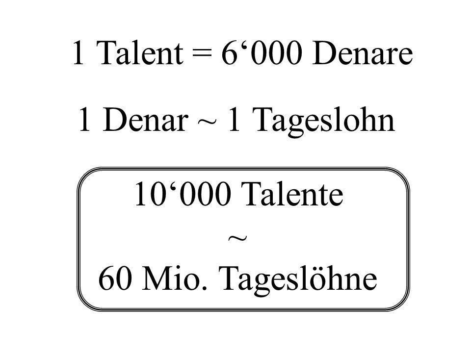 1 Denar ~ 1 Tageslohn 1 Talent = 6000 Denare 10000 Talente ~ 60 Mio. Tageslöhne