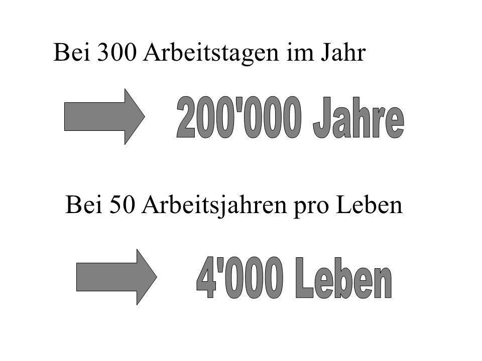 Bei 300 Arbeitstagen im Jahr Bei 50 Arbeitsjahren pro Leben
