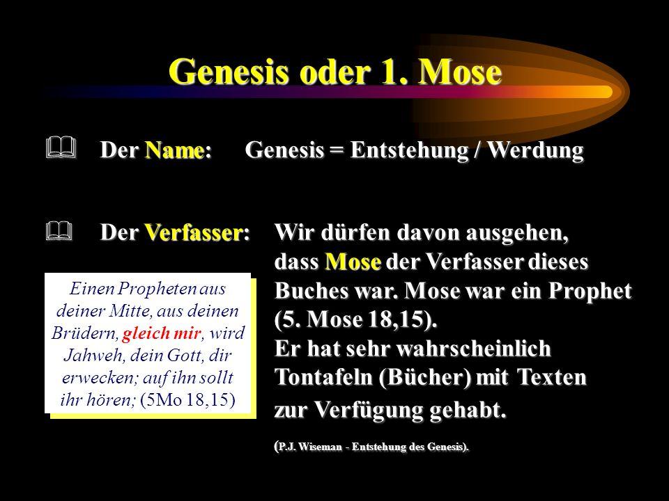 Genesis oder 1. Mose Der Verfasser:Wir dürfen davon ausgehen, dass Mose der Verfasser dieses Buches war. Mose war ein Prophet (5. Mose 18,15). Er hat